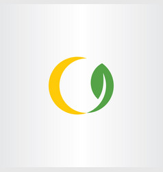 sun and leaf bio energy logo icon vector image