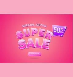 Super sale banner sale 3d typography premium vector