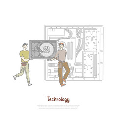 tiny workers holding hardware part hdd vector image