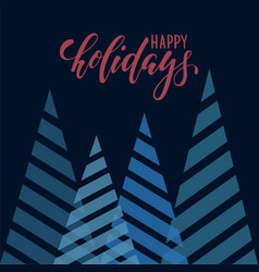 Vintage triangular stylized christmas trees hand vector