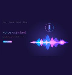 Voice assistant landing page voice recognition vector