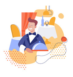 Waiter with a dish flat vector