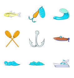 Water table icons set cartoon style vector