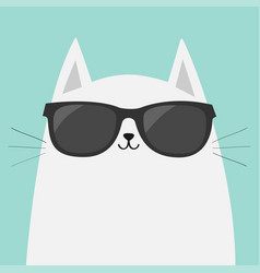 White cat wearing sunglasses eyeglasses black vector