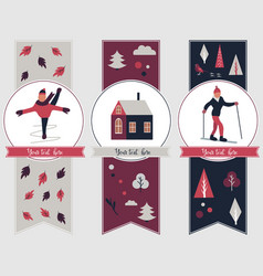 winter sports banners with different characters vector image