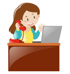 Woman working on computer at desk vector