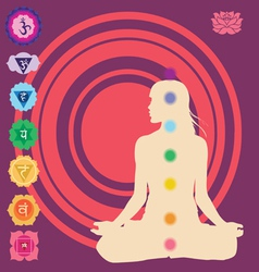 yoga position with symbols seven chakras vector image