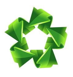 5 green recycling arrows for your design vector image vector image