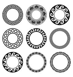 Ancient Greek round pattern - seamless set vector image