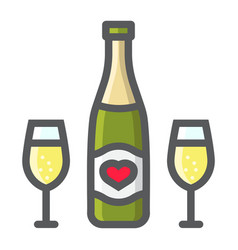 bottle of champagne glasses filled outline icon vector image vector image