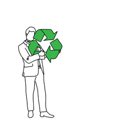businessman holding recycling sign vector image vector image