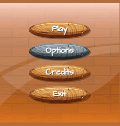 cartoon style wooden buttons with vector image