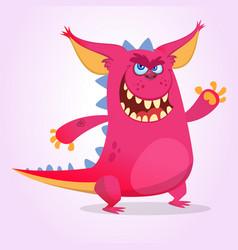 cute cartoon pink dragon troll vector image