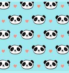 cute panda bear seamless pattern vector image vector image