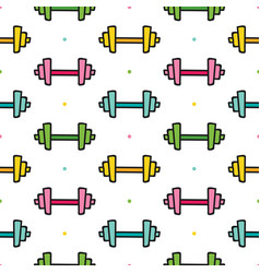 Dumbbells and dots seamless pattern background vector