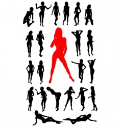 girl silhouettes collection vector image
