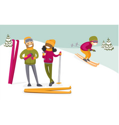 multicultural couple drinking coffee at ski resort vector image