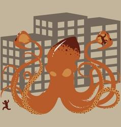 Rampaging Giant Squid vector image