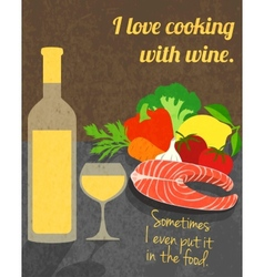 Wine cooking poster vector image vector image