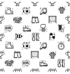 a set of soccer icons - seamless pattern in a vector image vector image