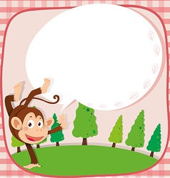 Border design with monkey in the park vector image