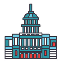 capitol usa flat line concept vector image