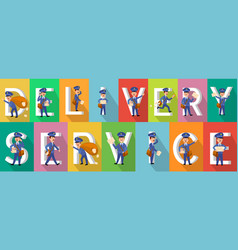 delivery service colourful picture collection vector image vector image