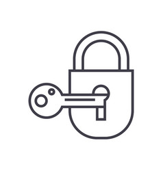 lock with key line icon sign vector image vector image