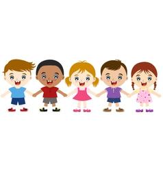 multicultural children hand in hand vector image