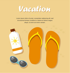 slippers or flip flops on beach sand vector image