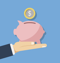 concept of saving money pink piggy vector image vector image