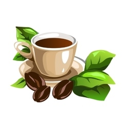 Cup of coffee decorated beans and green leaves vector image vector image
