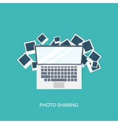 Flat background with hand and photos Travel vector image vector image
