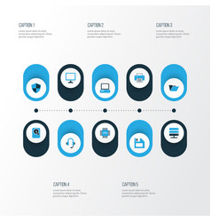 Hardware colorful icons set collection of file vector