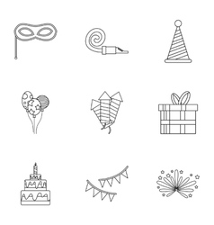 Holiday birthday icons set outline style vector image