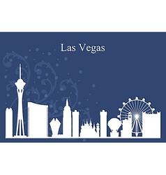 Las vegas city skyline silhouette on blue backgrou vector