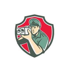 Policeman Speed Camera Shield Retro vector image