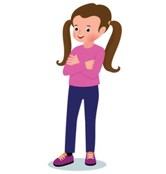 Portrait of a little girl in full growth on a whit vector image