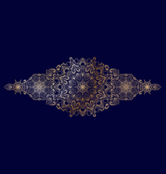 Decorative golden floral mandala border element vector