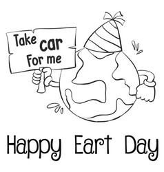 Happy earth day with world hand draw vector