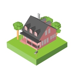 Isometric 3D icon Pictograms house with a mailbox vector image vector image