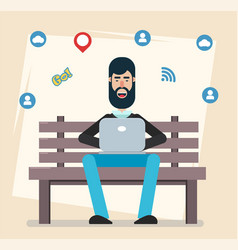 man sitting in the park on the bench with laptop vector image