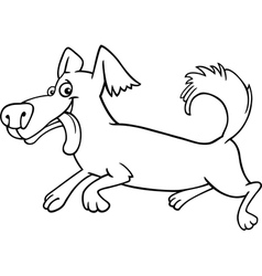 running little dog cartoon for coloring vector image vector image