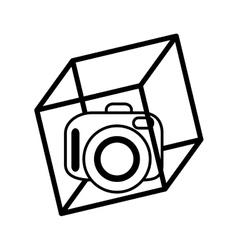 vr camera digital video 3d function outline vector image