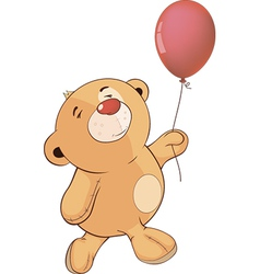 A stuffed toy bear cub and a toy balloon cartoon vector image