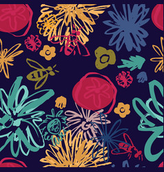abstract floral collage seamless pattern vector image