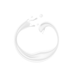 Abstract round milk ring splash on white vector