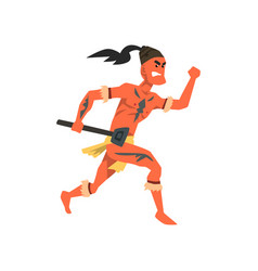 Armed tribal male warrior tribe member in vector