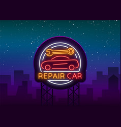 auto service repair logo in neon style neon sign vector image