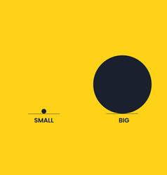 Big and small circle are antonyms yellow vector